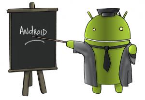 Android con pizarra